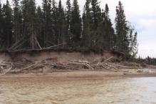 But on the ground, images of hydro are not always clean. The above scene is a common sight on Sipiwesk Lake, part of the hydro-affected Nelson River system. Unnatural water fluctuations cause shorelines to erode when water is high, and leave the shoreline debris-strewn and despoiled when water goes back down (pictured).